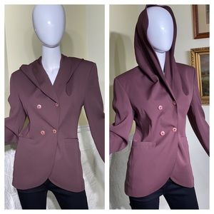 Gianfranco Laura Double Breasted Hooded Blazer